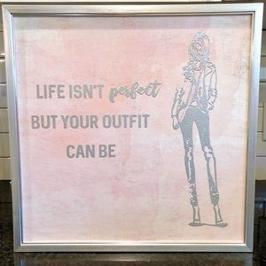 Other - Silver Frame Fashion Picture Pink Canvas